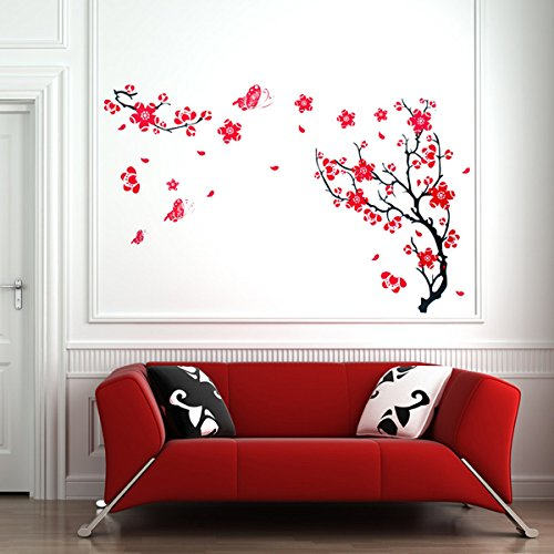 PcsPce Red Plum Blossom Wall Sticker Removable Art DIY Home Decor (Dr Seuss Characters Wall Decals compare prices)