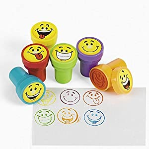 Plastic Pre-Inked Goofy Smile Face Stamps