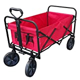 XL Foldable Collapsible Garden Trolley Cart Wagon Truck 4 Wheel Pull Along Wheelbarrow RED