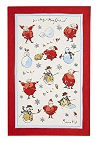 Ulster Weavers Madeleine Floyd Santa and Snowmen Linen Tea Towel