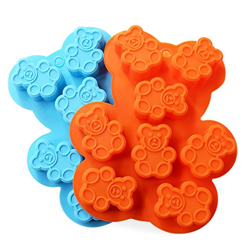 Candy Making Molds, 2PCS YYP [8 Cavity Bear Shape Mold] Silicone Candy Molds for Home Baking - Reusable Silicone DIY Baking Molds for Candy, Chocolate or More, Set of (Homemade Halloween Candy For Kids)