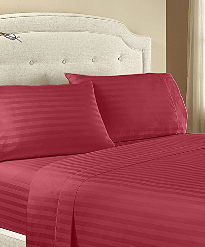 Lux Decor Collection Twin Bed Sheet Set - HIGHEST Egyptian QUALITY Microfiber 1800 Series Bedding -Wrinkle, Striped -3 Piece Bed Sheet (Twin, Burgundy) (Egyptian Cotton Twin Sheets compare prices)