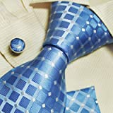 Light blue pattern cheap ties for men Valentine handmade silk neck tie cufflinks set H5078