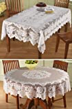 """White Floral Lace Tablecloth Rectangle 54"""" X 72"""""""
