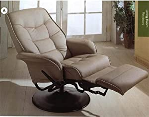 Leatherette Bone Cushion Recliner by Coaster Furniture