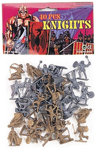Knights: 40 Gold and Silver Plastic Toy 48mm Medieval Figures ~ 1/35th Scale