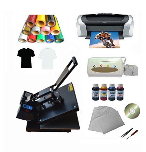 Techtongda New 15x15inch Flat Heat Press Machine Epson Printer Vinyl Inks CISS Transfer Paper Business Kit (T Shirt Printer Machine Digital compare prices)