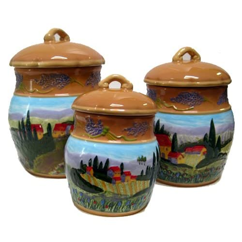 Set Of 3 Bella Casa Tuscan Countryside Raised Ceramic Canisters Kitchen Storage