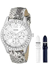 GUESS Women's U0525L1 Interchangeable Wardrobe Silver-Tone Multi-Function Watch Set with Genuine Leather Straps