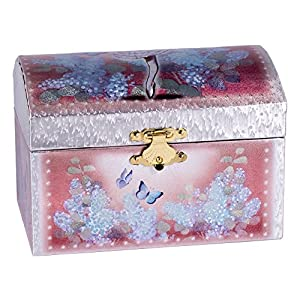 Ballerina music jewelry box pink silver for Amazon ballerina musical jewelry box