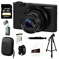 Sony DSC-RX100 RX100 RX100B DSCRX100 20.2 MP Exmor CMOS Sensor Digital Camera with 3.6x Zoom + 32GB Class 10 Memory Card + Sony Soft Carry Case + Accessory Kit