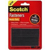 Scotch(R) Heavy-Duty Fasteners, 2 Sets of 1 x 3 Inches, Strips ,Black (RFD7091)