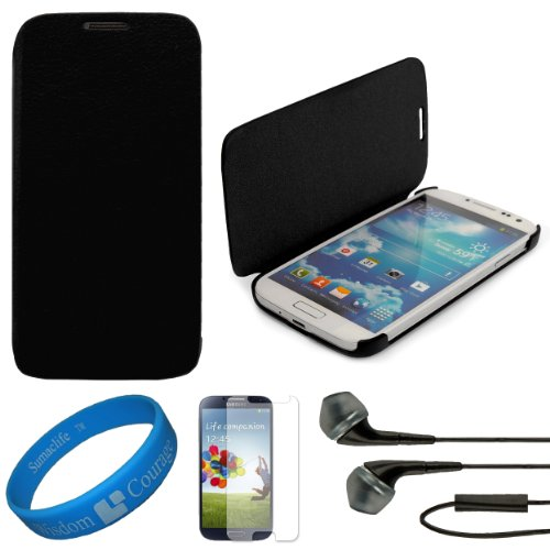 Vg Premium Faux Leather Flip Carrying Case W/ Sleeve Mode Function (Black) For Samsung Galaxy S4 / S Iv Android Smart Phones + Clear Anti Glare Screen Protector Strip W/ Cleaning Cloth + Black Vg Stereo Headphones With Windscreen Mic & Silicone Ear Tips +