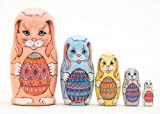 Easter Bunnies w/ Eggs Nesting Doll 5pc./5""