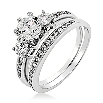 Ladies Silver Cubic Zirconia 3 Stone Brilliant Cut Engagement Ring Wedding Set