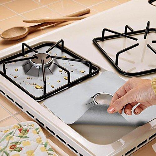 cucinagood-gas-gamma-argento-4pcs-protettore-riutilizzabile-liner-antiaderente-gas-hob-protezioni