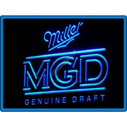 Miller Genuine Draft MGD Beer Bar Pub Restaurant Neon Light Sign - Blue