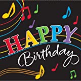 """Dancing Music Notes 6.5"""" Lunch Napkin 3-Ply (16) """"Happy Birthday"""" Party Supplies"""