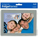 Magnetic Fridge Frame with Silver Border (Holds 6 x 4 Photo) Pack of 2