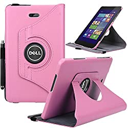 Dell Venue 8 Pro Case, E LV Dell Venue 8 Pro Case Cover 360 rotating Lightweight case for Venue 8 Pro 32GB 64GB Tablet (Windows Tablet) (will only fit Dell Venue 8 Pro tablet) - PINK