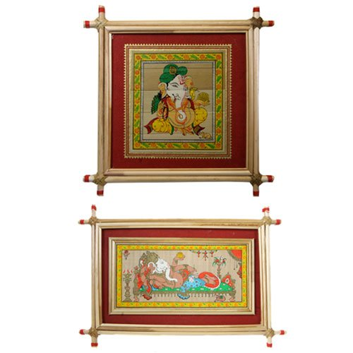 Set of 2 Framed Ganesh Paintings with Red Border