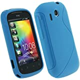 igadgitz Zweiton Blau dauerhafte Kristall Gel Skin (Thermoplastisch Polyurethan TPU) Tasche Hülle Case für HTC Explorer A310e Android Smartphone Mobile Phone Handy + Display Schutzfolie