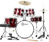 Junior 5-Piece Red Childrens Drum Set with Cymbals Sticks Stands Stool and Hardware - Child Kid Size