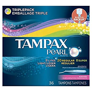 Tampax Pearl Plastic Triplepack, Scented Tampons 36 Count