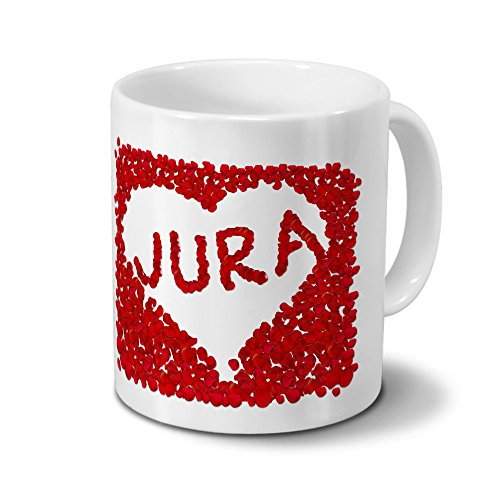 Tasse mit Namen Jura - Motiv Rosenherz - Namenstasse, Kaffeebecher, Mug, Becher, Kaffeetasse - Farbe Weiß