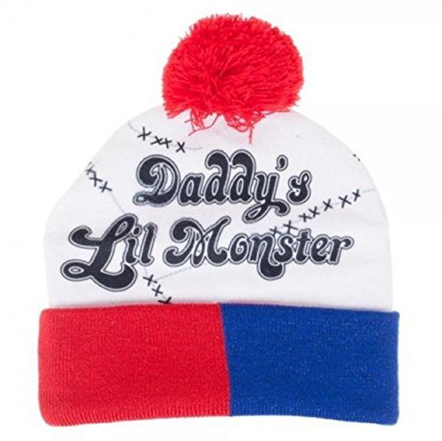 NEW! SUICIDE SQUAD HARLEY QUINN DADDY'S LIL MONSTER CUFF POM BEANIE HAT KNIT SKI CAP (Haunted Night Deluxe Party Supplies)