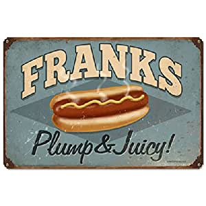 Amazon.com: Franks Plump & Juicy Sign Frankfurters Hot Dog