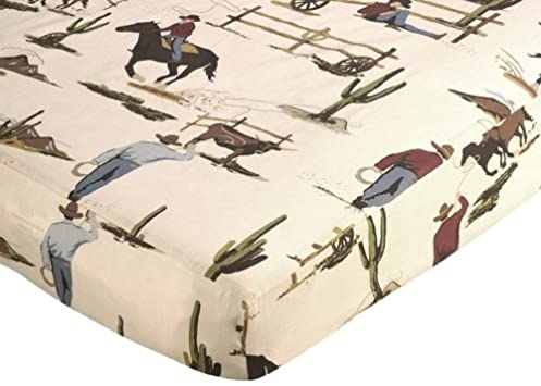 Great Fitted Crib Sheet for Wild West Cowboy Bedding Sets by Sweet Jojo Designs