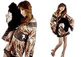 花魁な豹柄!高級感溢れる可愛いミニ着物ドレス浴衣セクシーコスチュームコスプレイベント衣装に!光沢レオパード(豹柄)