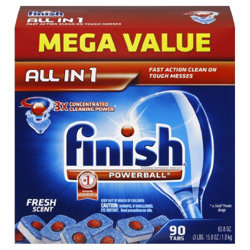 Finish Powerball Tabs Dishwasher Detergent Tablets, Fresh Scent, 90 Count