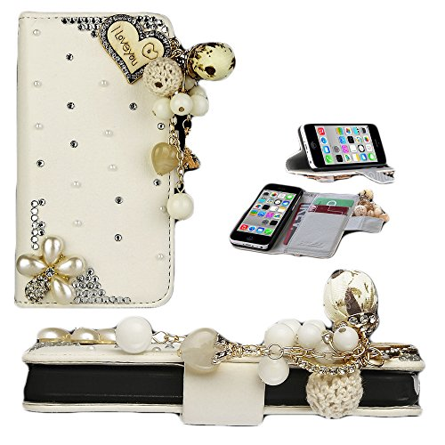 Mylife (Tm) Unique Pearl White I Love You + Diamond Gems + Gold Tassle {Creative Design} Faux Leather (Card, Cash And Id Holder + Magnetic Closing) Slim Wallet For The Iphone 5C Smartphone By Apple (External Textured Synthetic Leather With Magnetic Clip +