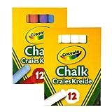 Crayola 1x White and 1x Colour Anti Dust Chalk