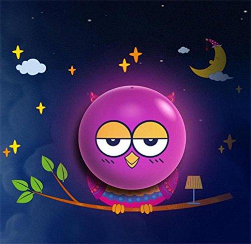 Samgo DIY 3d Cute Wallpaper Novelty Cartoon Wall Stickers Lamp for Kids' Bedroom Room Decoration LED Night Light (Owl)