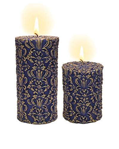 Volcanica Set of 2 Blue & Gold Paramount Pillar Candles