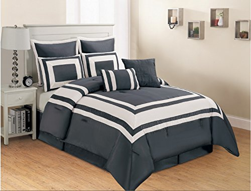 8 Piece Grey White Stripe Faux Silk Comforter Set Queen Size