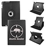 Ipad Air Retina (5th Generation) Rig Dead Dealer Synthetic Leather Rotating Case 360 Degrees Multi-angle Vertical and Horizontal Stand with Strap (Black)