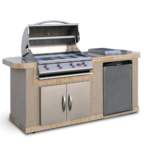 Cal Flame LBK701 Outdoor BBQ Island with 4-Burner Grill/Double Access Doors/Stainless Steel Refrigerator/Side Burner/6-Feet Base (Cal Flame Fridge compare prices)