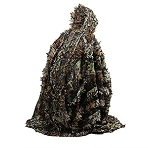 Zicac Outdoor 3D Leaves Camouflage Ghillie Poncho Camo Cape Cloak Stealth Ghillie Suit Military CS Woodland Hunting Clothing Free Size from Zicac