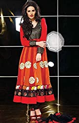 Aayushman Charming Orange and Red Semi Stitched Net Churidar Kameez Set
