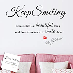 Motto keep smiling DIY Removable Art Vinyl Quote Wall Sticker Decal Mural Home Room D¨¦cor by fulldream
