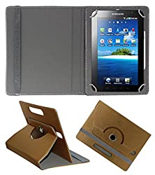 Acm Designer Rotating 360° Leather Flip Case For Samsung Galaxy Tab P1000 Tablet Stand Premium Cover Golden