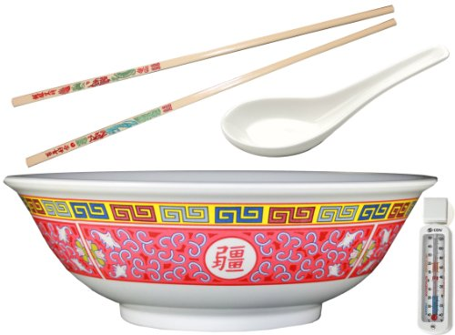 """57 Oz 9.75"""" Pho Rice /Noodle Soup Bowl Set, Includes 1 Pair Of Chopsticks And 1 Oriental Soup Spoon - Pho Size: Large - Design: Longevity - Made Of Durable Melamine - Bundled With Refridgerator/Freezer Thermometer"""