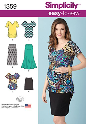 Simplicity Easy-to-Sew Pattern 1359 Misses Maternity Knit Skirts, Gaucho Pants and Tops Sizes 6-24 XS-XL