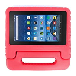 Creazy® Kids Shock Proof EVA Handle Case Cover for Amazon Kindle Fire HD 7 2015 (Red)
