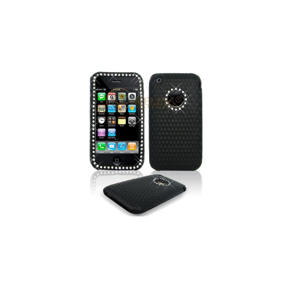 Solid Black Silicone Skin with White Diamonds Cover Case Cell Phone Protector for Apple iPhone 3G