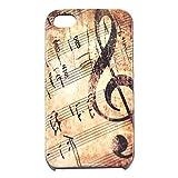 ShopmallHK Cas de modèle de note de musique Vintage rigide pour iPhone 4/4S
